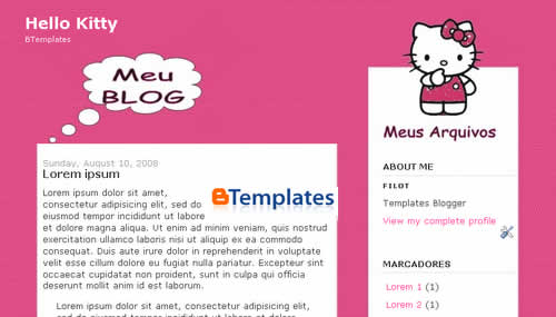 2 Column Blogger Template - Hello Kitty