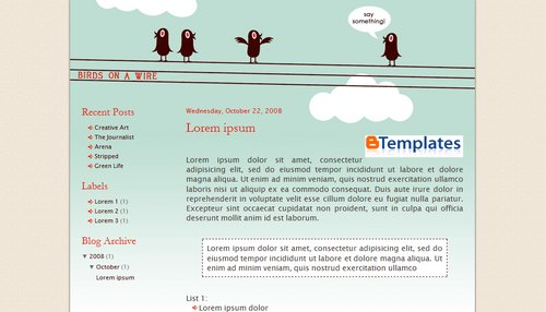 Birds on a wire Blogger Template