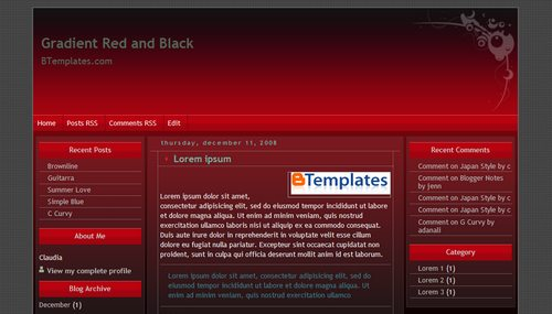 Red Blogger Templates Gradient Red and Black Blogger template - BTemplates