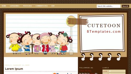 cute toon blogger template