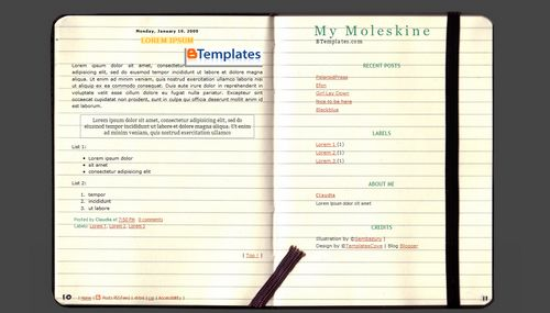 My moleskine blogger template btemplates for Moleskine book journal template