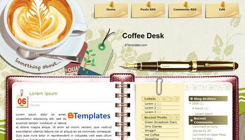xml templates for blogger free download - coffee desk blogger template btemplates