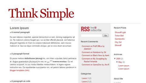 think simple blogger template btemplates