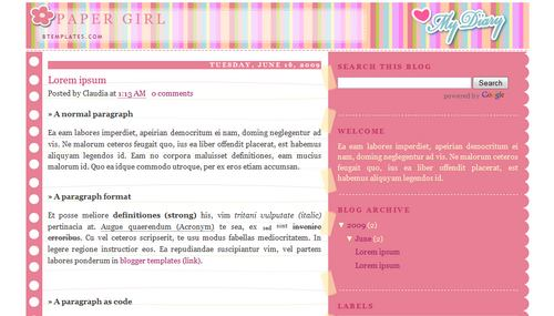 Paper girl blogger template btemplates pronofoot35fo Images