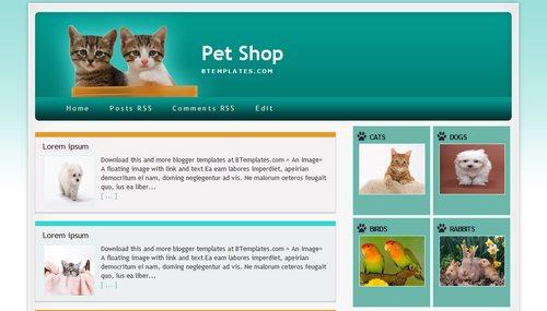 Pet Shop Blogger template - BTemplates