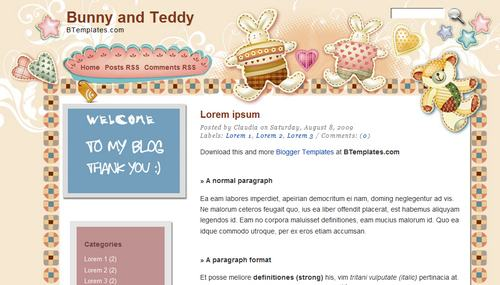 Bunny and teddy blogger template btemplates pronofoot35fo Images