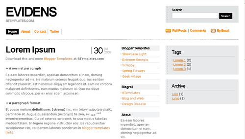 xml templates for blogger free download - evidens white blogger template btemplates