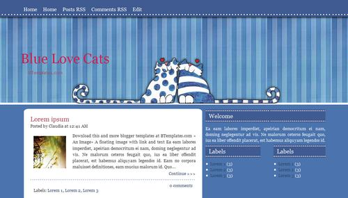Blue Love Cats - Template para Blogger