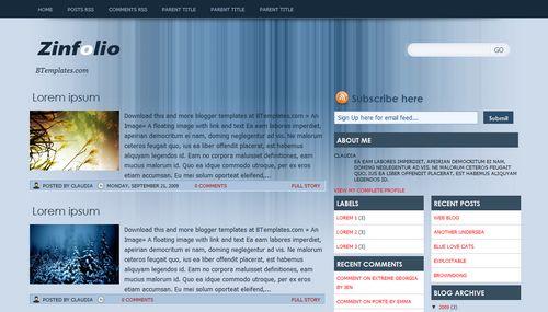 Zinfolio - Template para Blogger