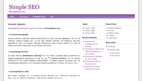 simple seo blogger template btemplates