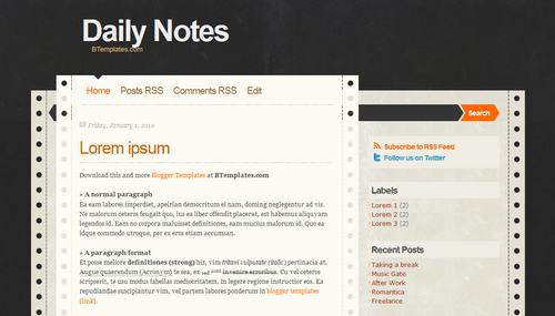 Daily Notes Blogger template BTemplates – Daily Note Template