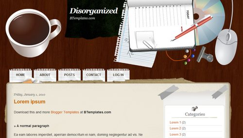 Disorganized blogger template btemplates pronofoot35fo Images