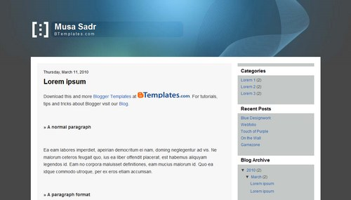 musa sadr blogger template btemplates