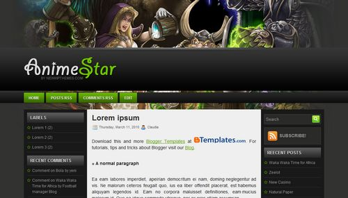 Anime Star Blogger template - BTemplates