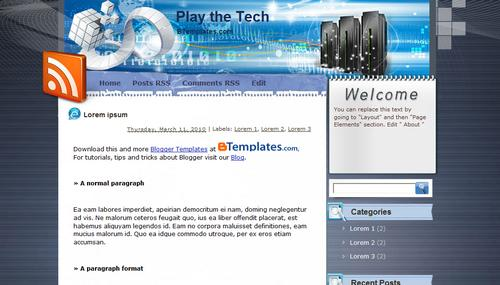 Play the Tech Blogger template - BTemplates