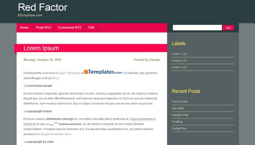 Red Blogger Templates Red Factor Blogger template - BTemplates