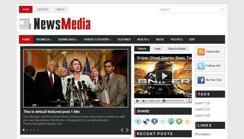 News Media Blogger template - BTemplates
