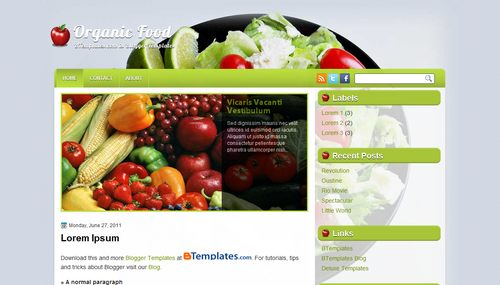 Organic Food - Template per Blogger