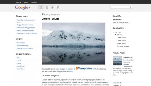 Google Plus Blogger template - BTemplates