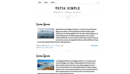 Putih simple blogger template btemplates for Design your own blogger template free