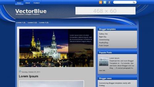 Template blogger Vector Blue