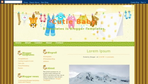 Cutie Baby Blogger template - BTemplates