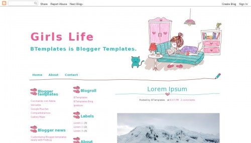 Girls Life Blogger template - BTemplates