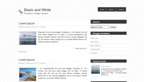 White Blogger Templates Black and White Blogger template - BTemplates