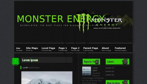Template blogger Monster Energy