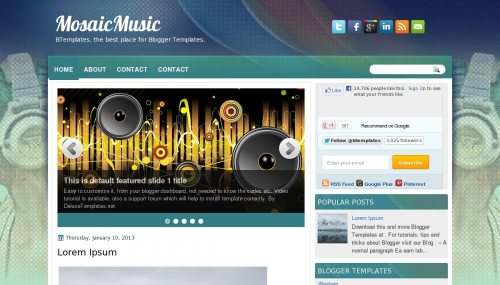 Template blogger Mosaic Music