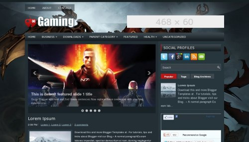 Gaming Blogger template - BTemplates