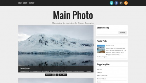 Blogger Template Pography | Main Photo Blogger Template Btemplates