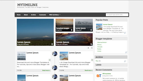 Download MyTimeLine Best Premium Blogger Templates 2014