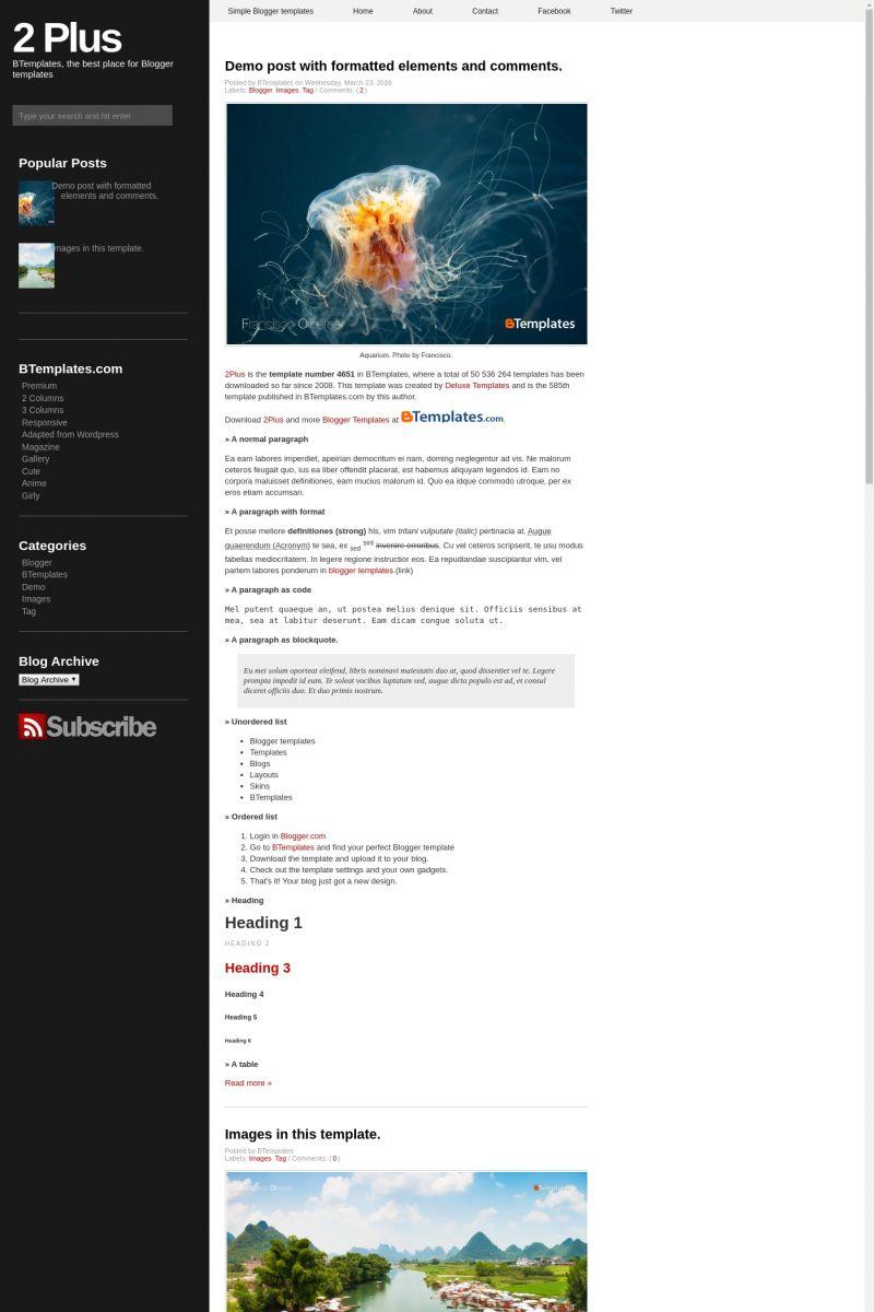 Download 2 Plus Blogger Template
