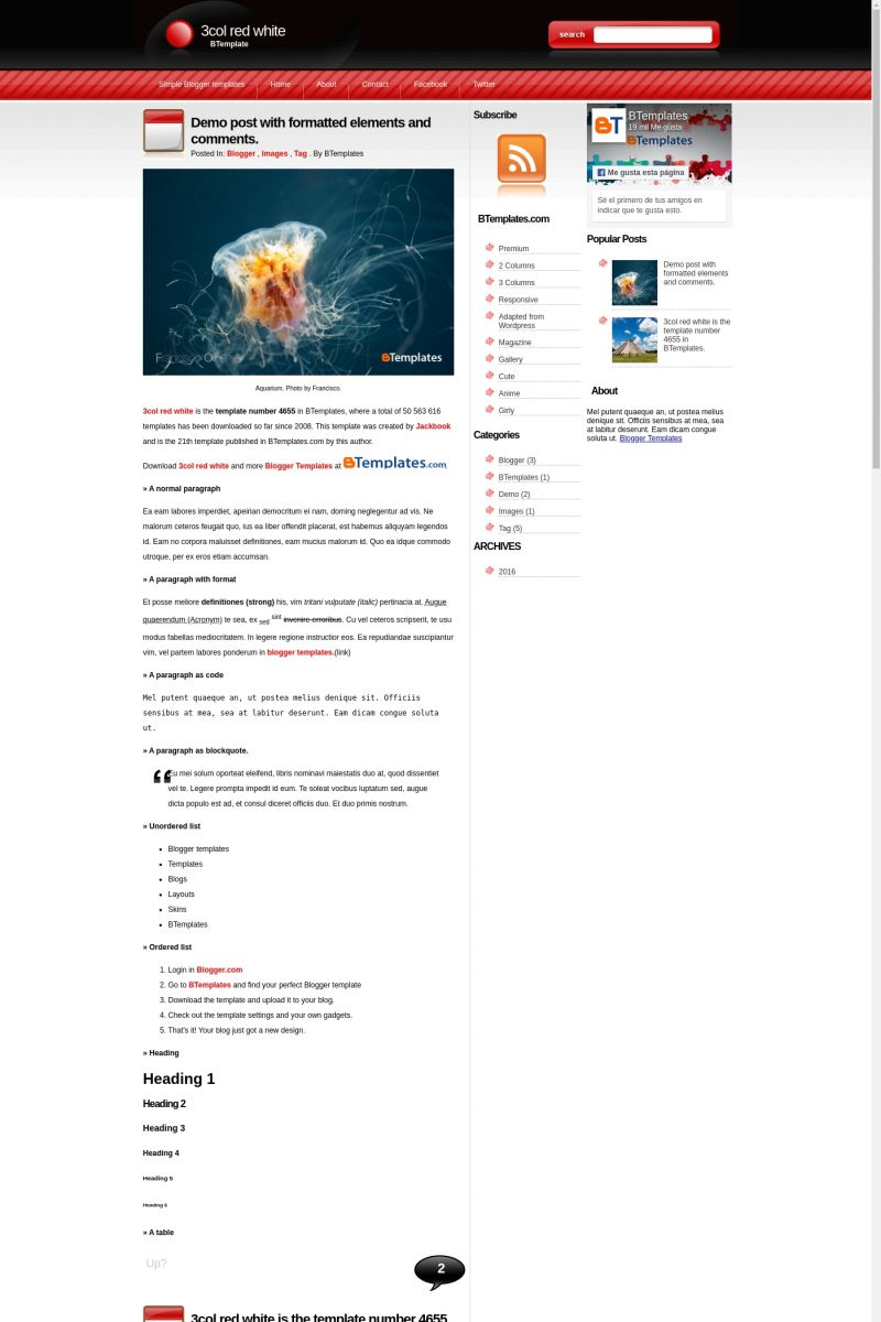 Download 3col red white Blogger Template