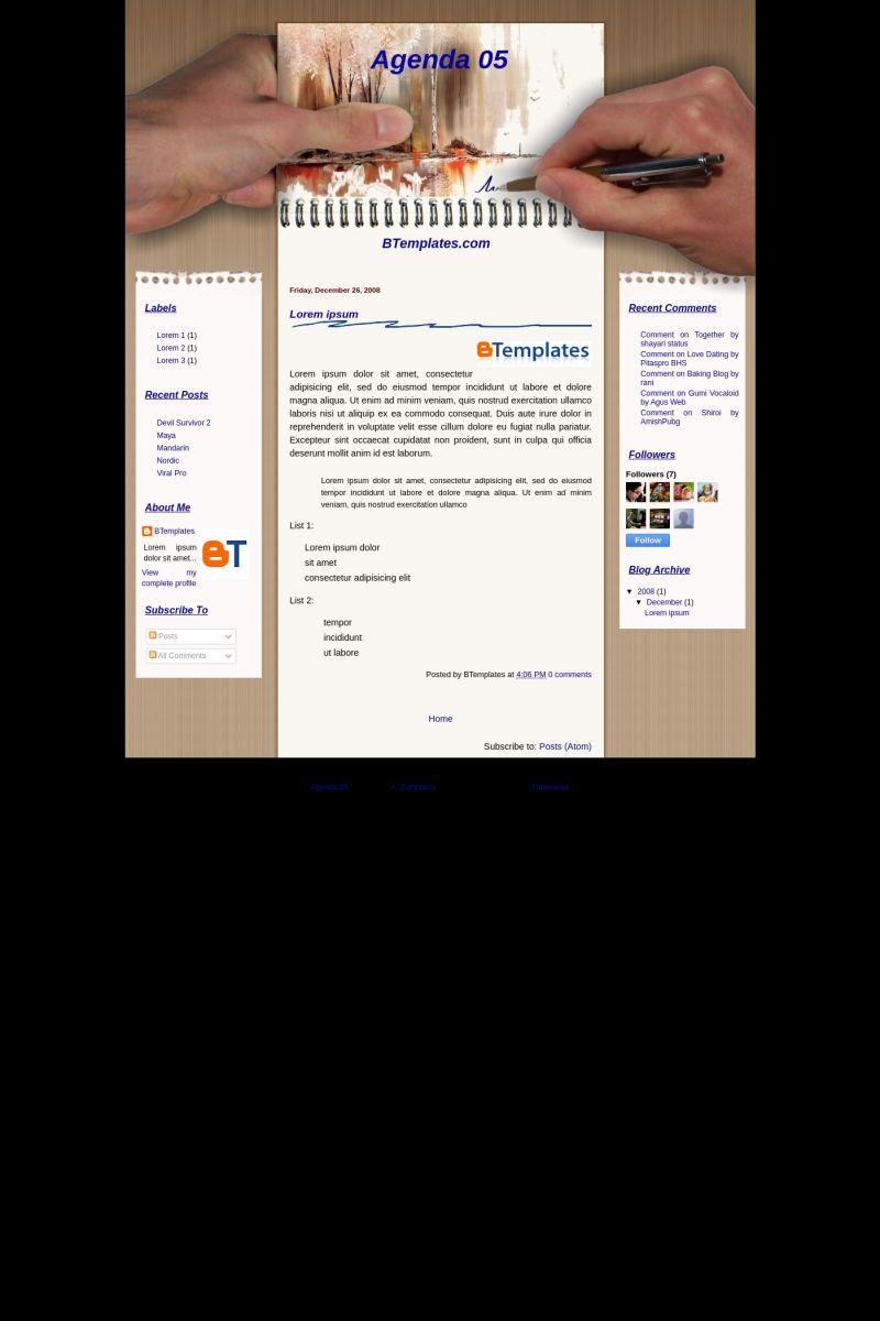 Download Agenda 05 Blogger Template