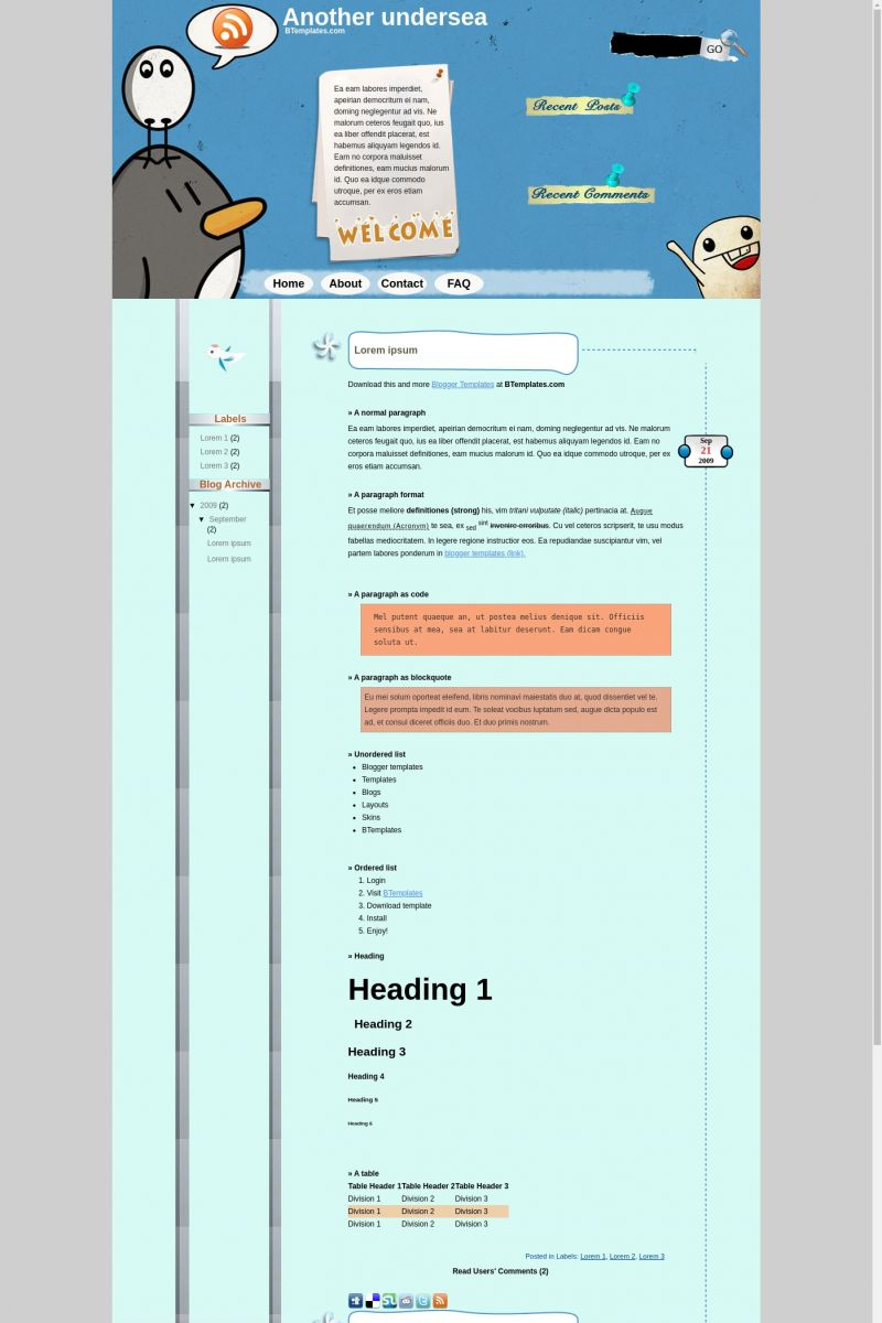 Download Another Undersea Blogger Template