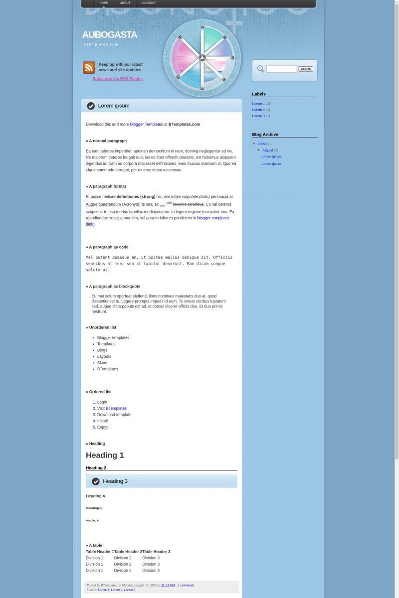 Download Aubogasta Blogger Template