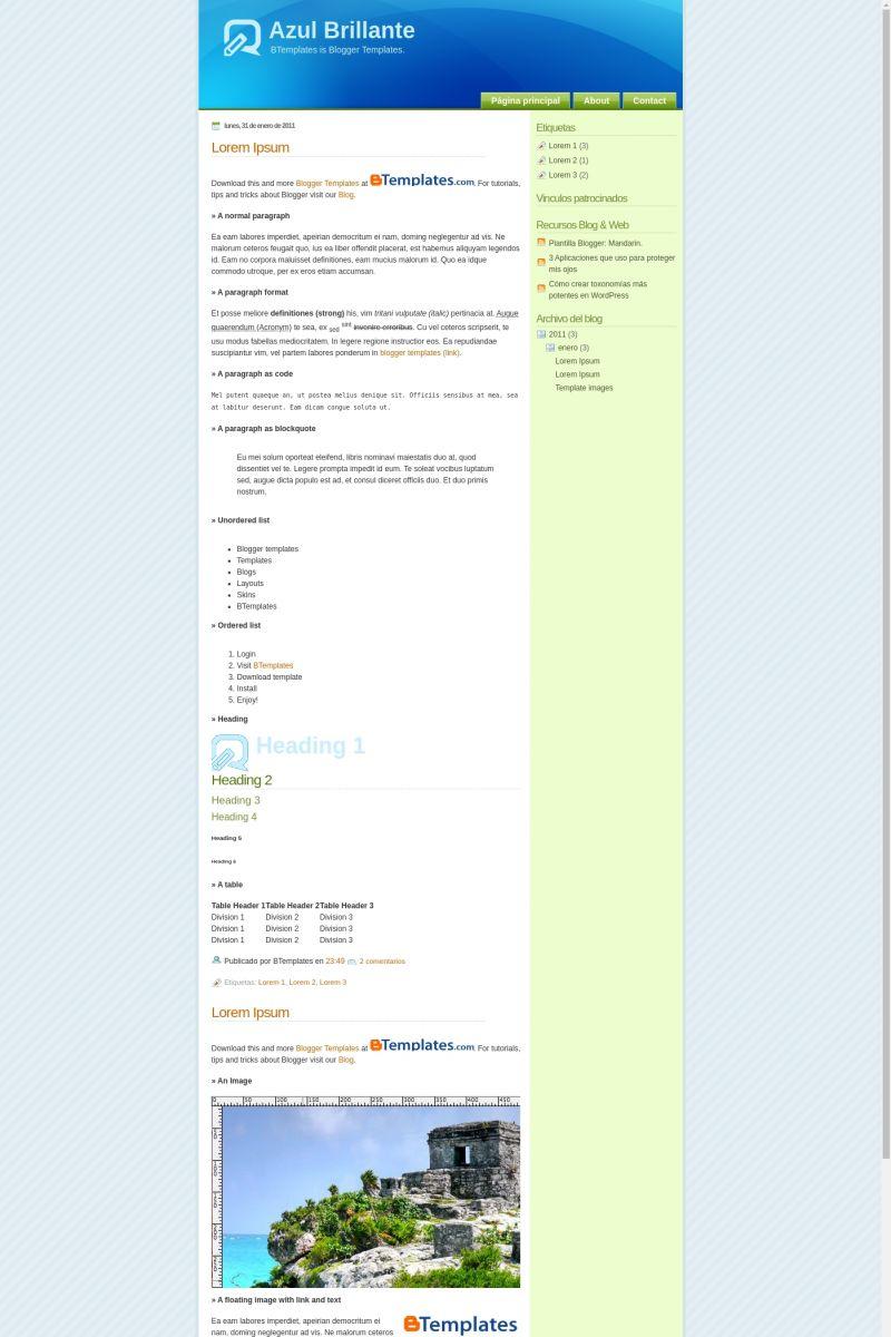 Download Azul Brillante Blogger Template