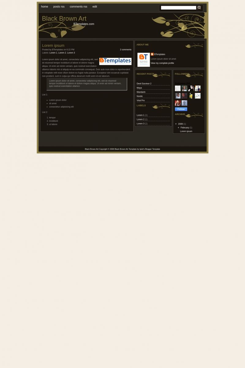 Download Black Brown Art Blogger Template
