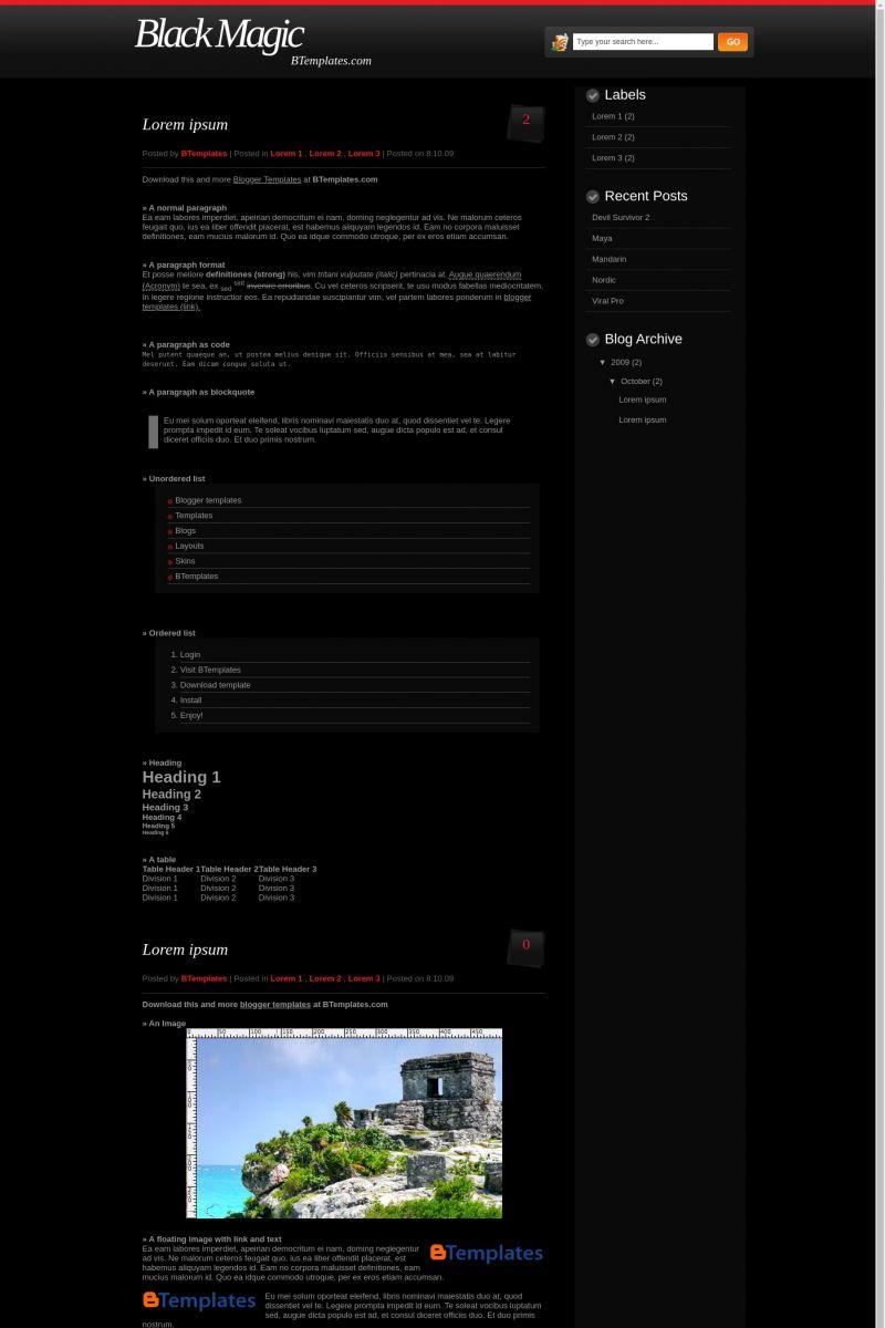 Download Black Magic Blogger Template