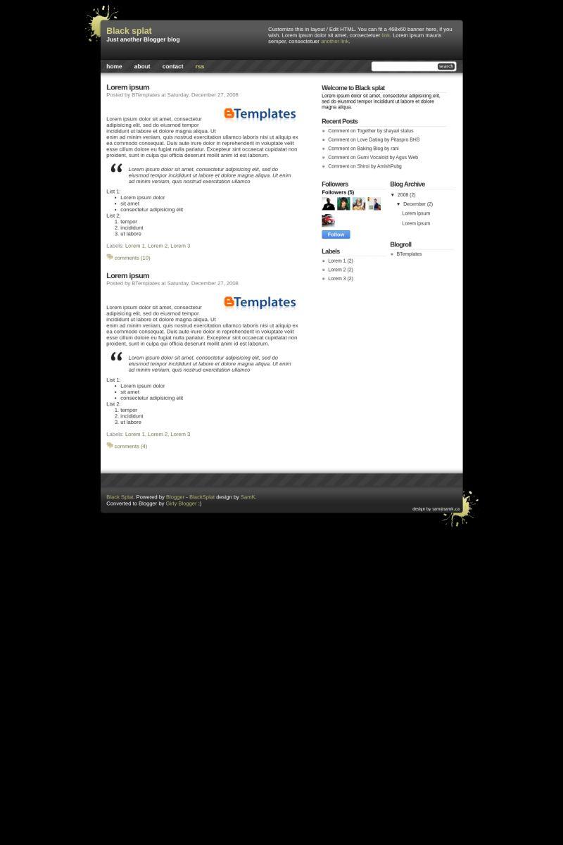Download Black splat Blogger Template