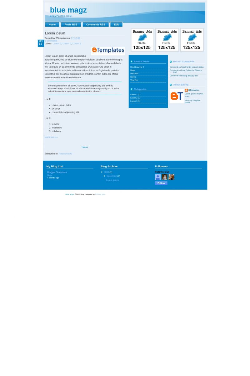 Download Blue Magz Blogger Template