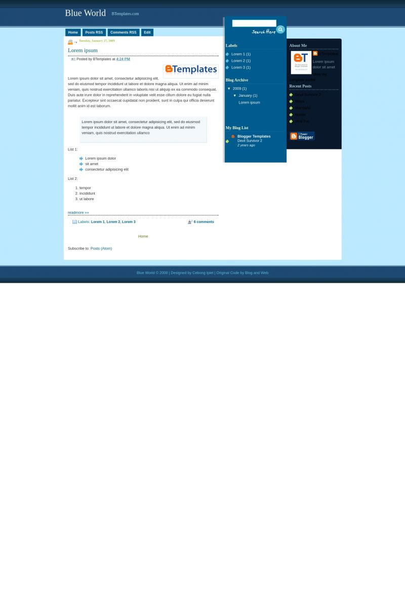 Download Blue World Blogger Template