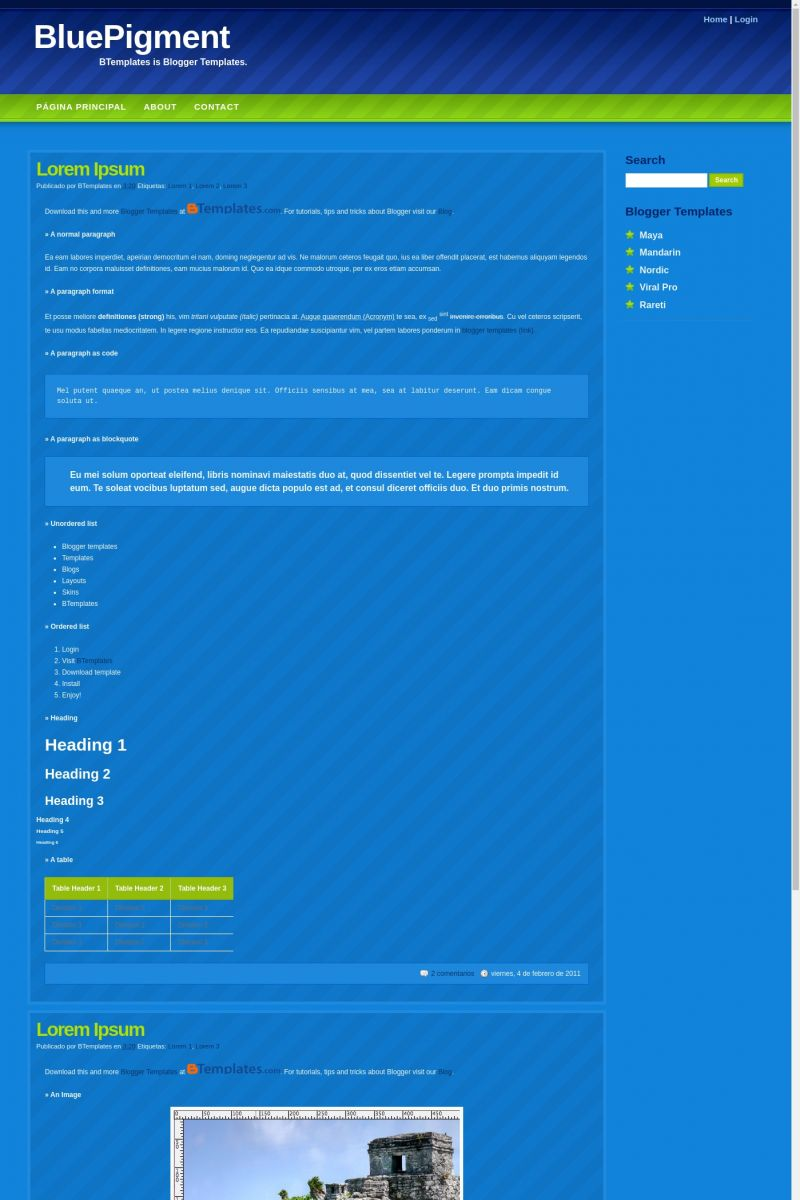 Download BluePigment Blogger Template