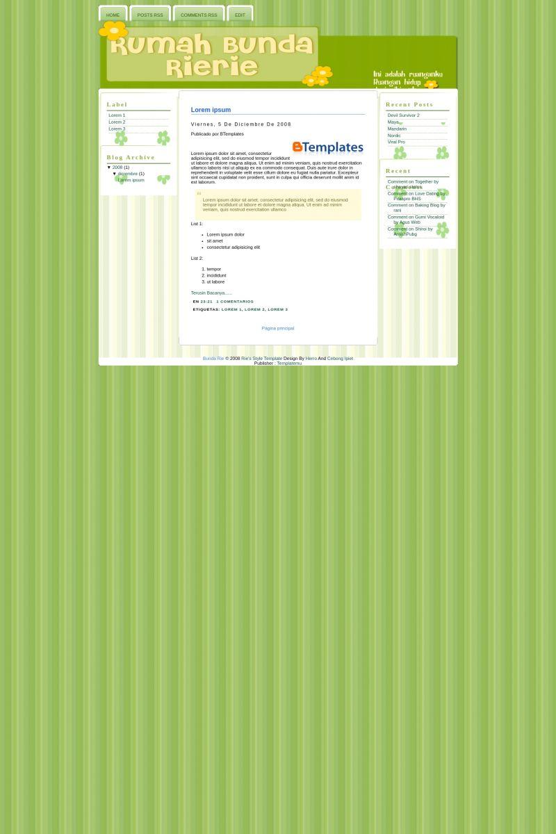 Download Bunda Rie Blogger Template