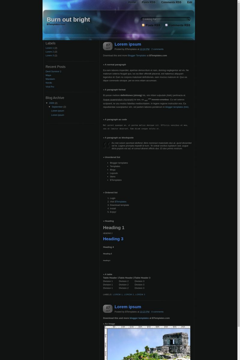Download Burn out bright Blogger Template