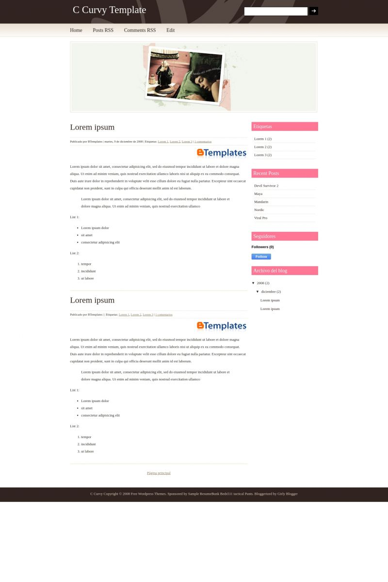 Download C Curvy Blogger Template