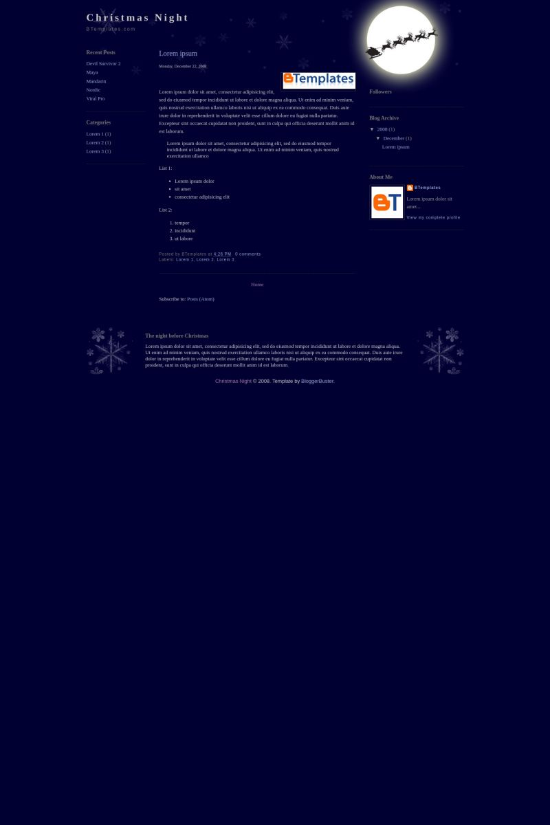 Download Christmas Night Blogger Template