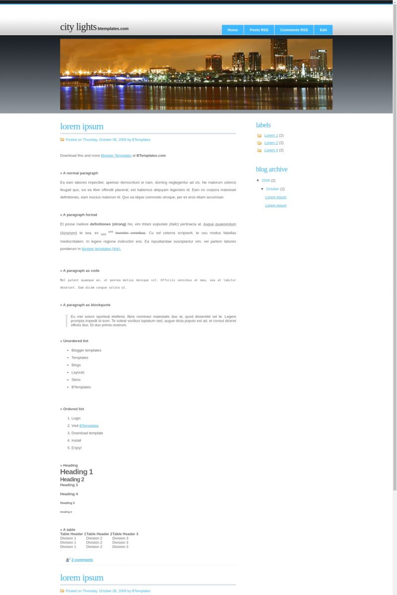 Download City Lights Blogger Template